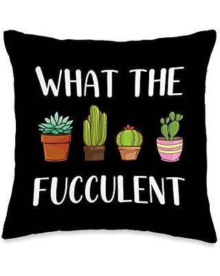 Cutie Cactus Apparel & Gifts Succulent Gifts for Women Cactus Garden - What The Fucculent Throw Pillow, 16x16, Multicolor