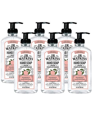 JR Watkins Gel Hand Soap, Grapefruit, 6 Pack, Scented Liquid Hand Wash for Bathroom or Kitchen, USA Made and Cruelty Free, 11 fl oz