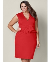 """Plus Size Bow Detail Bodycon Dress - RED"""