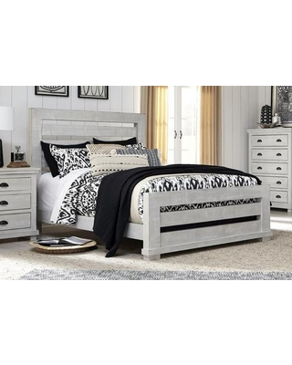 Willow Collection P615-80/81/78 King Slat Complete Bed with Slat Headboard Slat Footboard Rails in Gray
