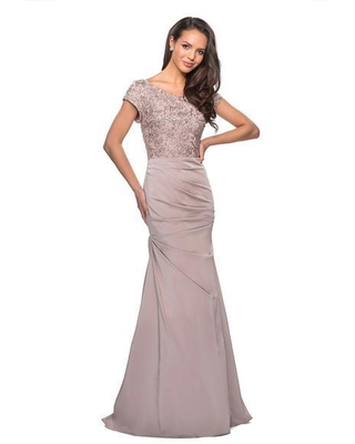 La Femme - 26806 Short Sleeve Embroidered Bodice Ruched Mermaid Gown