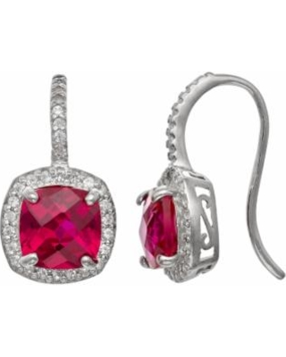Sterling Silver Lab-Created Ruby and Lab-Created White Sapphire Halo Drop Earrings, Women's, Red