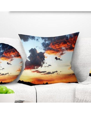 """East Urban Home Seascape Blazing Sky with Clouds Panorama Pillow VOIN2484 Size: 18"""" x 18"""" Product Type: Throw Pillow"""