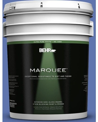 BEHR MARQUEE 5 gal. #600B-6 Sudden Sapphire Semi-Gloss Enamel Exterior Paint and Primer in One