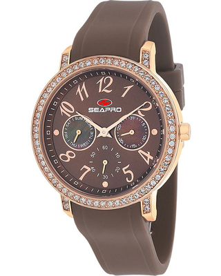 Seapro Womens Swell Brown Silicone Strap Watch, One Size
