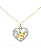 14K Yellow Gold and Rhodium-plated Bead Trim Number 1 Mom In Heart Charm with 18-inch Cable Rope Chain by Versil (18 Inch - Yellow)
