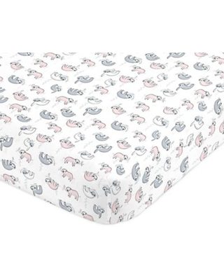 Nojo® Sloth Fitted Crib Sheet in Pink