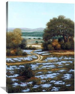 """Global Gallery 'Valley of the Bluebells II' by Arcobaleno Painting Print on Wrapped Canvas GCS-339645 Size: 40"""" H x 30"""" W x 1.5"""" D"""