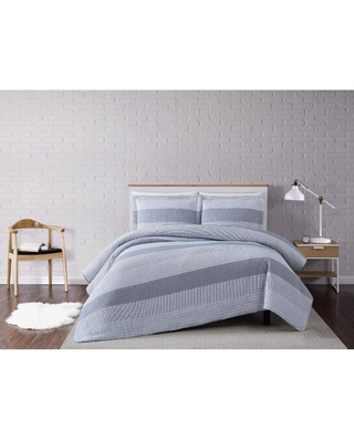 King 3pc Multi Stripe Quilt Set Gray - Truly Soft