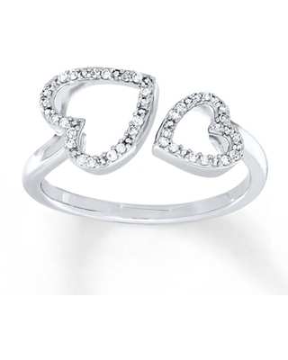 Heart Ring 1/10 ct tw Diamonds Sterling Silver