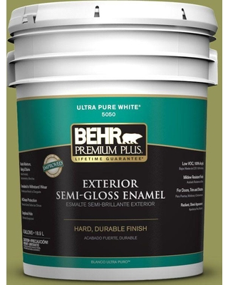 Huge Deal On Behr Premium Plus 5 Gal M340 6 Spinach Dip Semi Gloss Enamel Exterior Paint And Primer In One