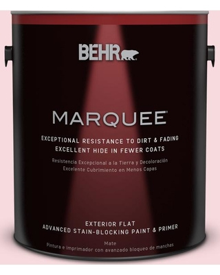 BEHR MARQUEE 1 gal. #130C-1 Powdered Blush Flat Exterior Paint and Primer in One