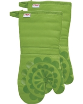 "Green Medallion Silicone Oven 2 Pack Mitt (13""x13"") T-Fal"
