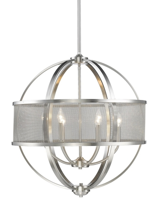 Golden Lighting Colson 26.75 inch 6-Light Chandelier w/ Shades in Pewter