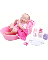 "LA NEWBORN 8 Piece Deluxe BATHTUB GIFT SET, featuring 14"" Life-Like All Vinyl Smiling Baby Newborn Doll, Pink"