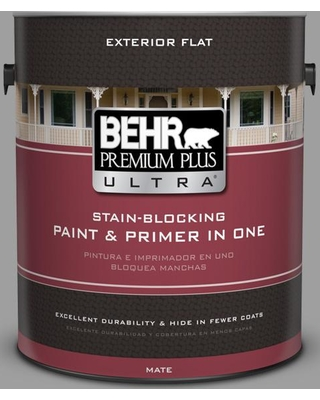 BEHR Premium Plus Ultra 1 gal. #PPU26-06 Elemental Gray Flat Exterior Paint and Primer in One