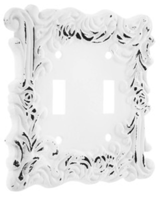 Shop Distressed White Flourishing Metal Double Switch Plate