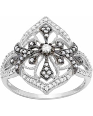 3/8 Carat T.W. Diamond Sterling Silver Flower and Cross Ring, Women's, Size: 6, White