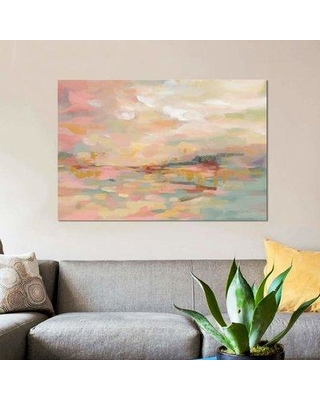 "East Urban Home 'Pink Waves' Print on Canvas EBHU6682 Size: 26"" H x 40"" W x 0.75"" D"