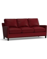 Tyler Leather Sofa with Bronze Nailheads, Down Blend Wrapped Cushions, Leather Signature Berry Red