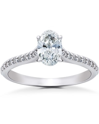 14k White Gold 1 1/4 ct TDW Oval Diamond Vintage Engagement Ring Solitaire Single Accent Row Setting (H-I, I1-I2) (8)