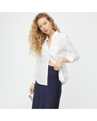 Classic-fit washed cotton poplin shirt