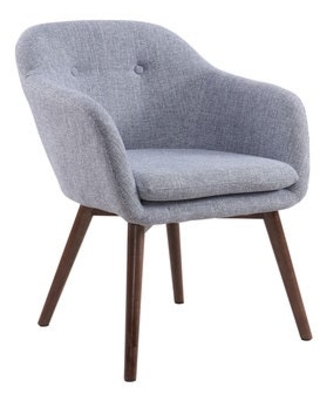 Minto-Mid Century Textured Fabric Side Chair (Grey)