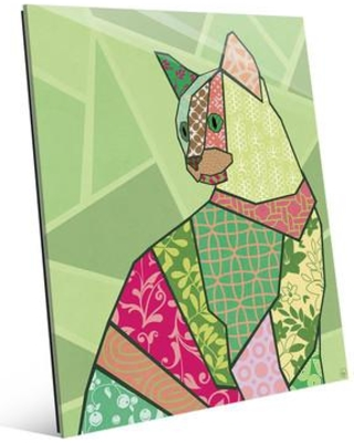 """Click Wall Art 'Deco Kitty' Graphic Art on Plaque CBS0000455GLS Size: 24"""" H x 20"""" W x 1"""" D"""