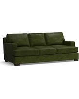 Townsend Square Arm Leather Sofa, Polyester Wrapped Cushions, Leather Legacy Forest Green