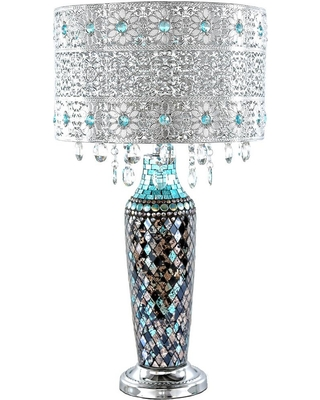 River of Goods 24.25 in. Turquoise Indoor Table Lamp with Gloria's Crystal Beaded Shade and Mosaic Base