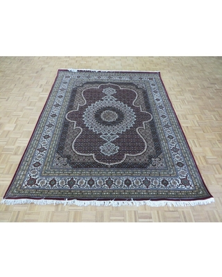 """Hand Knotted Ivory Mahi Tabrez with Wool & Silk Oriental Rug (7'11"""" x 10'1"""") - 7'11"""" x 10'1"""""""