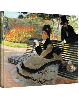 "ArtWall ''Park Bench'' by Claude Monet Painting Print on Canvas Cmonet09 Size: 14"" H x 18"" W"