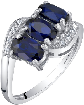 1.5 ct Oval Shape Blue Sapphire and Diamond 3-stone Ring in 14K White Gold (5)