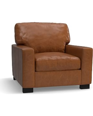 Stupendous Turner Square Arm Leather Small Armchair 37 Down Blend Dailytribune Chair Design For Home Dailytribuneorg