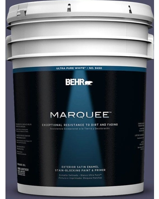 BEHR MARQUEE 5 gal. #640F-7 Academy Purple Satin Enamel Exterior Paint and Primer in One