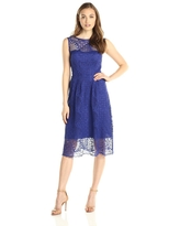Adrianna Papell - 15250960 Bateau Neck Flare Lace Dress