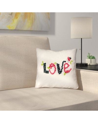 """Latitude Run Buoi Love and Berries Square Double Sided Print Indoor Throw Pillow LDER2151 Size: 18"""" x 18"""""""