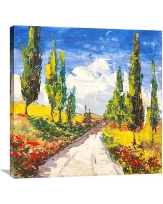 """Global Gallery 'Strada Toscana' by Luigi Florio Painting Print on Wrapped Canvas GCS-463327 Size: 30"""" H x 30"""" W x 1.5"""" D"""