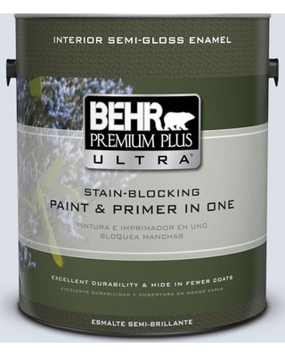 BEHR Premium Plus Ultra 1 gal. #ppl-70 Eastern Breeze Semi-Gloss Enamel Interior Paint and Primer in One