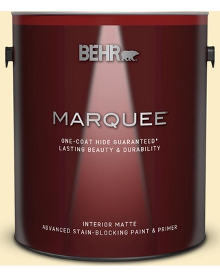 BEHR MARQUEE 1 gal. #330A-2 Frosted Lemon Matte Interior Paint and Primer in One