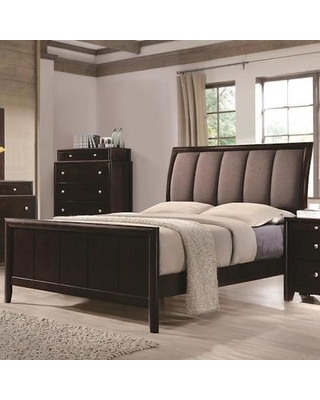 """Madison Collection 204881Q 88"""" Queen Bed with Fabric Upholstered Headboard and Tapered Legs in Dark Merlot"""
