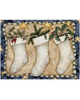 """Trademark Art 'Christmas Stockings' Acrylic Painting Print on Wrapped Canvas ALI34552-CGG Size: 35"""" H x 47"""" W x 2"""" D"""