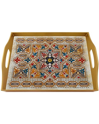 Glass serving tray - Traditional Mosaïc from Turkey - Rectangular Hand Painted Glass Tray with Gold Aluminium Frame
