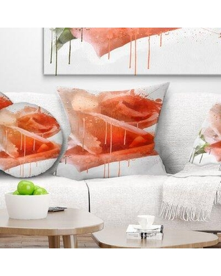 """East Urban Home Floral Rose Painting with Splashes Pillow FUSI6331 Size: 16"""" x 16"""" Product Type: Throw Pillow"""