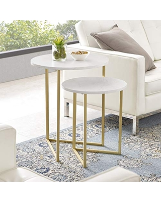 Walker Edison Modern Round Metal Base Nesting Set Side Accent Living Room Storage Small End Table, Set of 2, White Marble/Gold