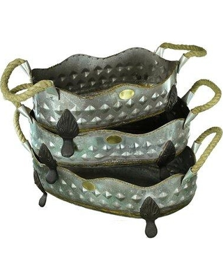 August Grove Jazlyn 3-Piece Metal Pot Planter Set with Rope Handle BF121174