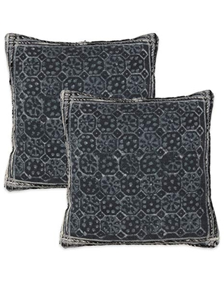 """Saro Lifestyle Evelyn Collection Grey Embellished Print Throw Pillow - Cover Only (Set of 2), 18"""""""