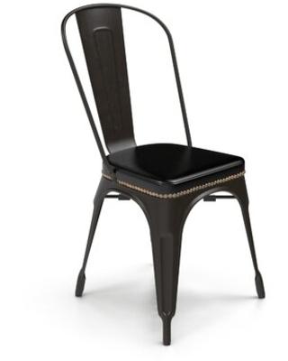 """Cain 17.5"""" Wide Side Chair Williston Forge Upholstery: Antique Black Faux Leather, Finish: Antique Black"""
