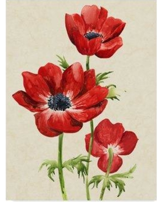 """East Urban Home 'Heirloom Anemones II' Acrylic Painting Print on Wrapped Canvas W000112810 Size: 19"""" H x 14"""" W x 2"""" D"""