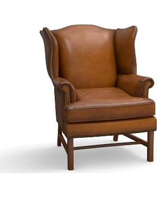 Thatcher Leather Armchair, Polyester Wrapped Cushions, Leather Burnished  Bourbon